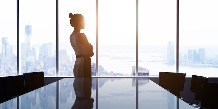 Business Woman in Office Looking Out Onto The City