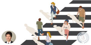 Illustration of people in a crosswalk