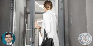Woman exiting an office